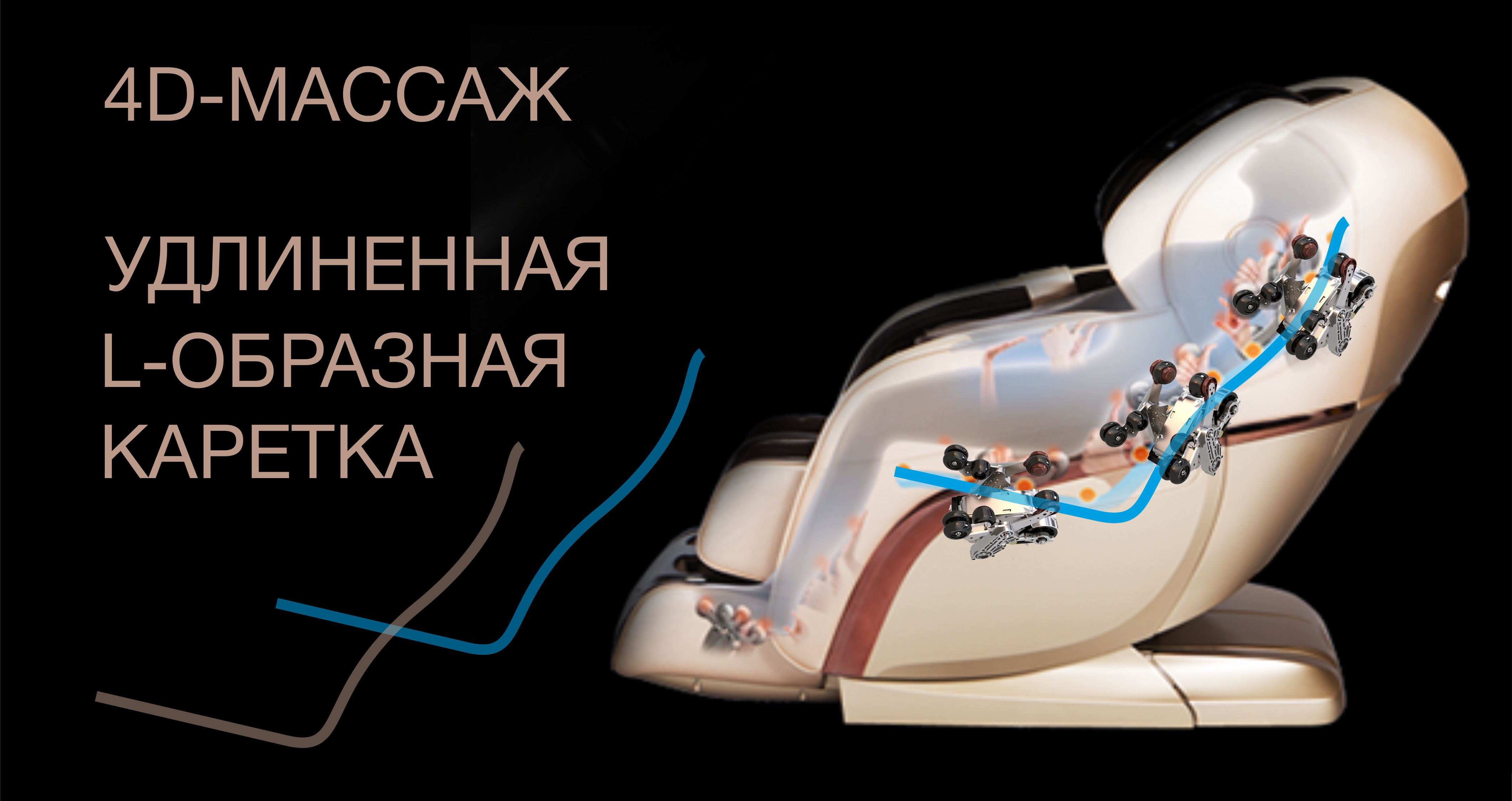 4D-массаж и удлиненная L-образная каретка - Массажное кресло Bodo Excellence Light Brown